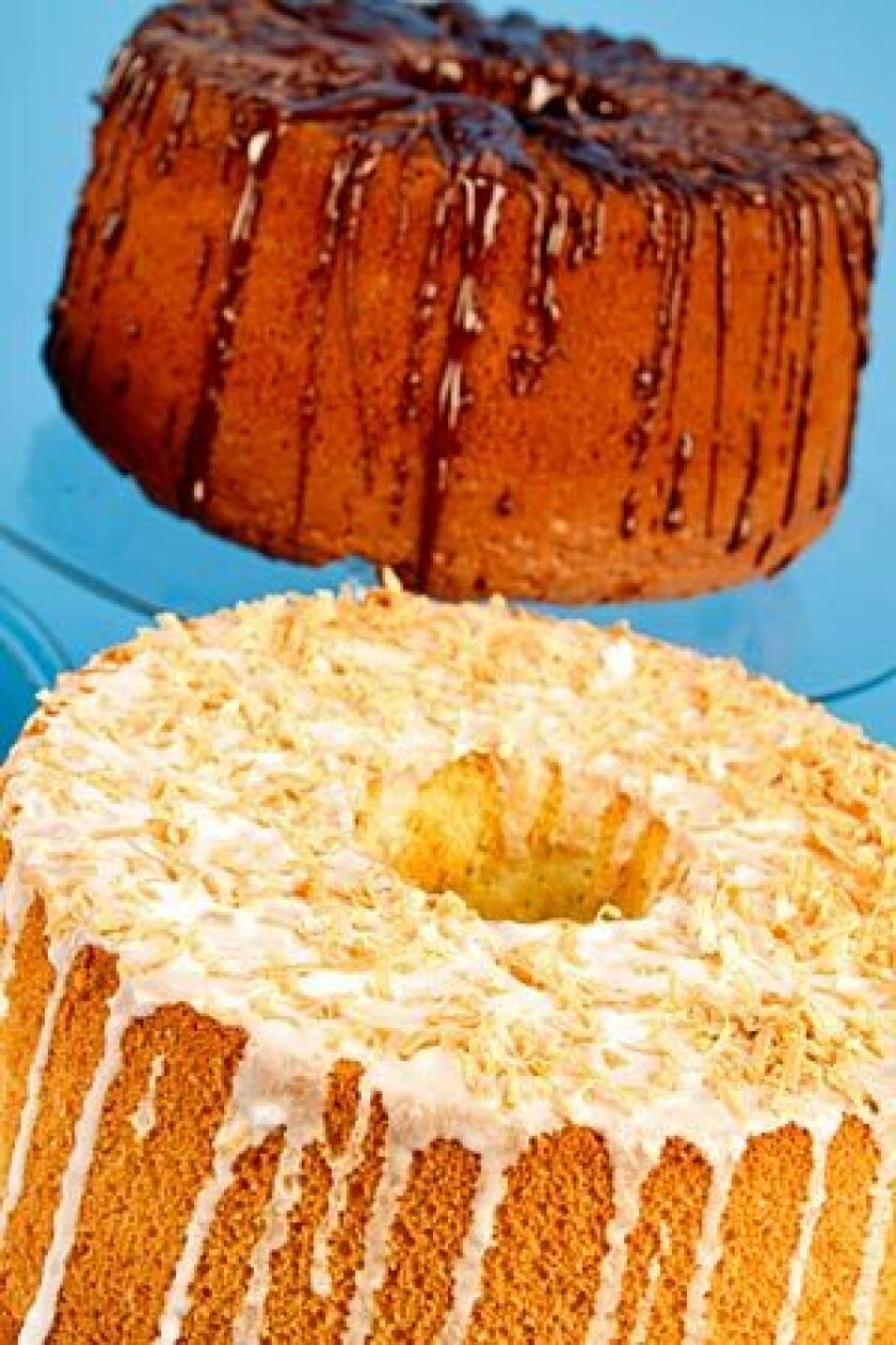 Chocolate chiffon cake, top, and pandan chiffon with coconut are just two of the many spinoffs of the basic recipe.