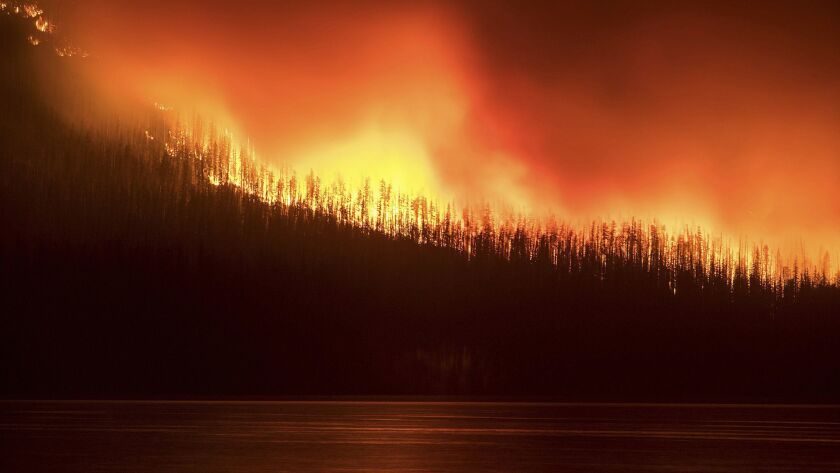 A fire burns next to Lake McDonald in Glacier National Park in northwest Montana on Aug. 12, 2018.