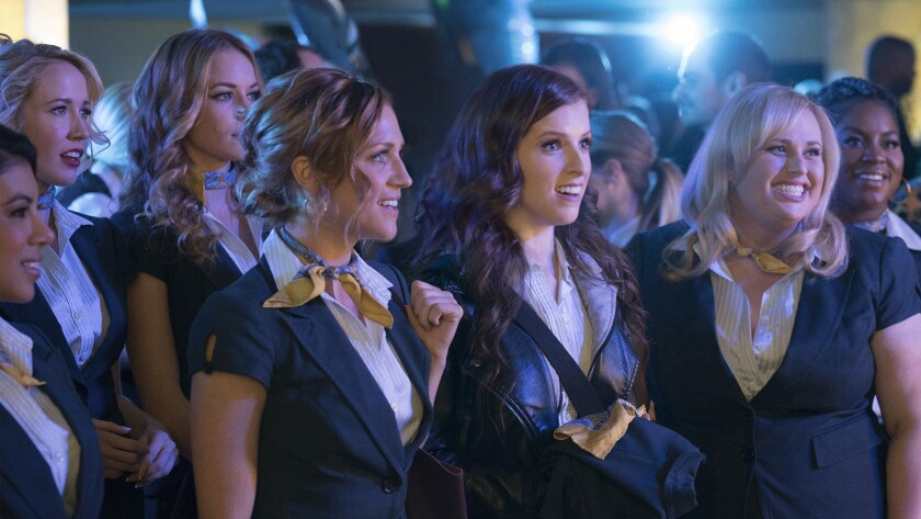 """Chrissie Fit, from left, Anna Camp, Alexis Knapp, Brittany Snow, Anna Kendrick, Rebel Wilson and Ester Dean in the movie """"Pitch Perfect 3."""""""