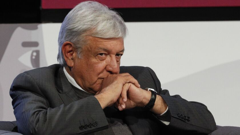 Mexican President-elect Andres Manuel Lopez Obrador listens during a meeting Nov. 22 in Mexico City.