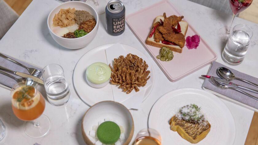 LOS ANGELES, CALIFORNIA - APR. 10, 2019: (L to R clockwise) Koshihikari rice congee, xo, pork floss