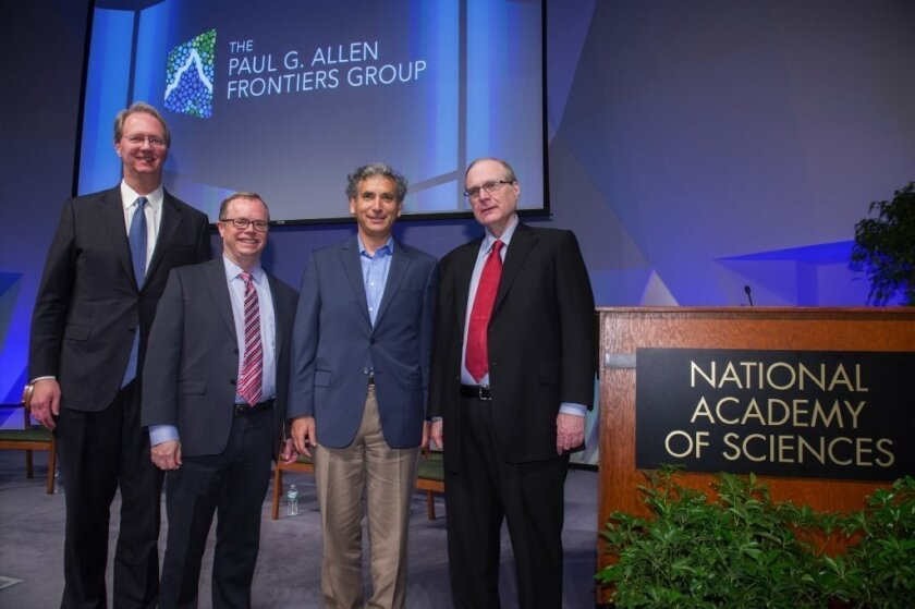 Scientist Ethan Bier, third from left, with Paul G. Allen Frontiers Group Executive Director Tom Skalak, Allen Institute Chief Executive Officer Allan Jones and Paul G. Allen. Photo by John Harrington