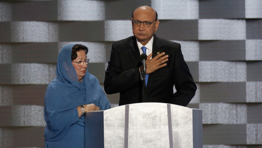 Khizr Khan and his wife, Ghazala, at the Democratic National Convention. They are the parents of U.S. Army Capt. Humayun Khan, who was killed while serving in Iraq.