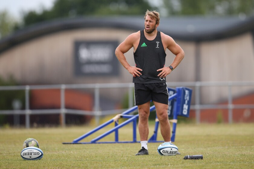 Chris Robshaw of Harlequins participates in a training session at Surrey Sports Park on June 10 in Guildford, England.