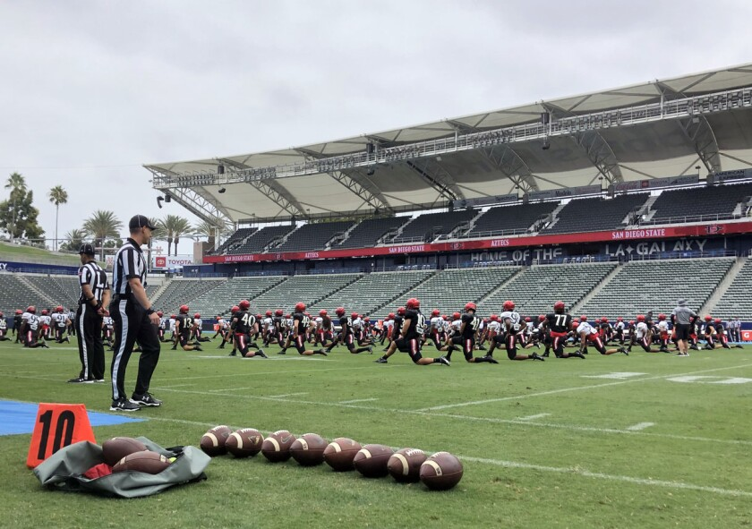 The San Diego State football team scrimmaged on Sunday in Carson at Dignity Health Sports Park.
