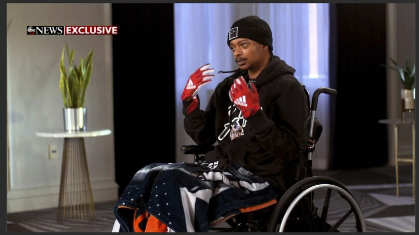 In this image taken from video provided by ABC, Jacob Blake speaks during an interview broadcast on ABC News' Good Morning America on Thursday, Jan. 14, 2021. Blake, who was shot in the back Aug. 23, 2020, by a white police officer in Wisconsin, triggering several nights of violent protests, said he was prepared to surrender just before the officer opened fire. (ABC News/Good Morning America via AP)