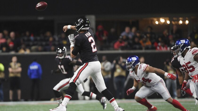 Atlanta Falcons quarterback Matt Ryan (2) works against the New York Giants during the second half.