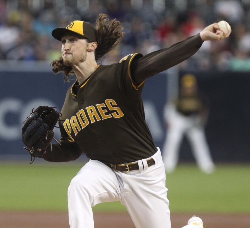 Padres starter Matt Strahm pitches against the Reds on Friday at Petco Park.