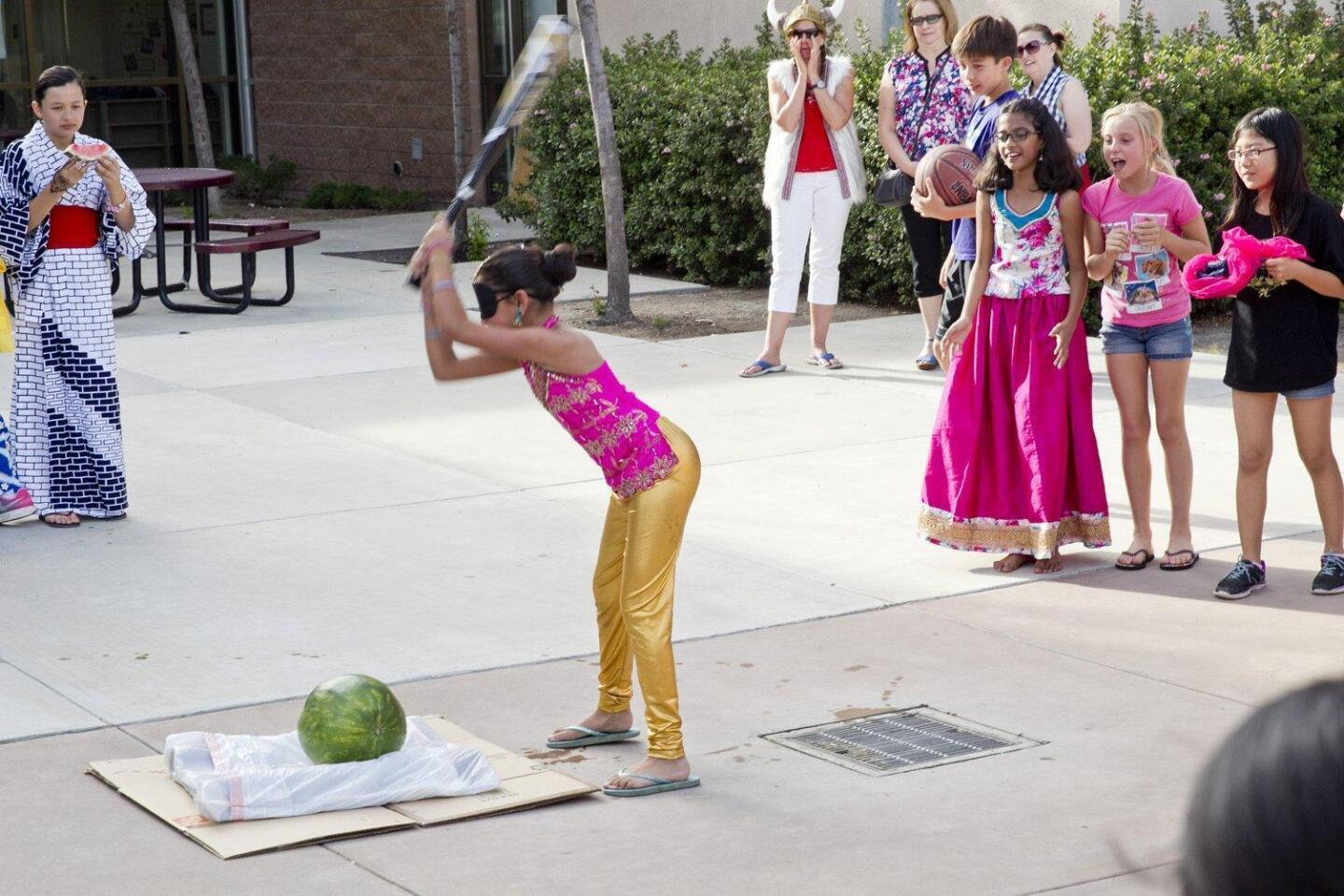 Sonia Khanvilkar takes a turn playing the Japanese game of watermelon smash