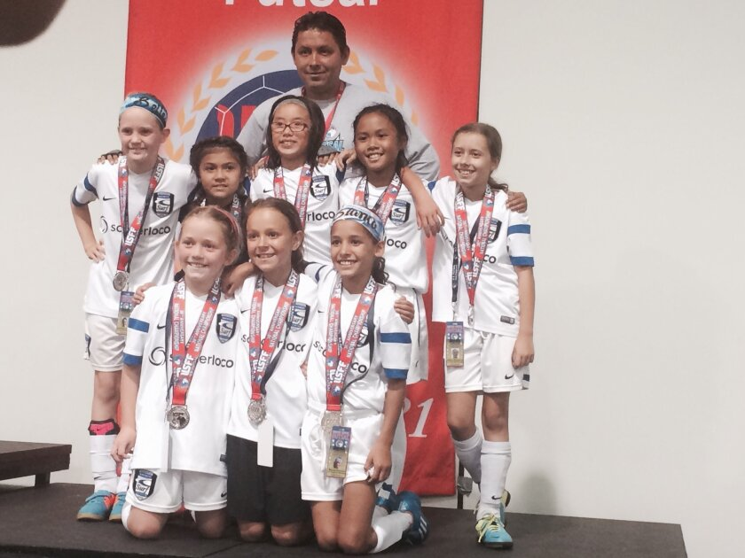 Pictured: front row, L-R: Claire Tilley, Alexandra Pena, Bianca Ramirez; back row, L-R: Annabelle Allison, Isabella Velasco, Jessica Luo, Coach Danny Madrigal, Sydney Diomino, Ashlin Gonsalves.