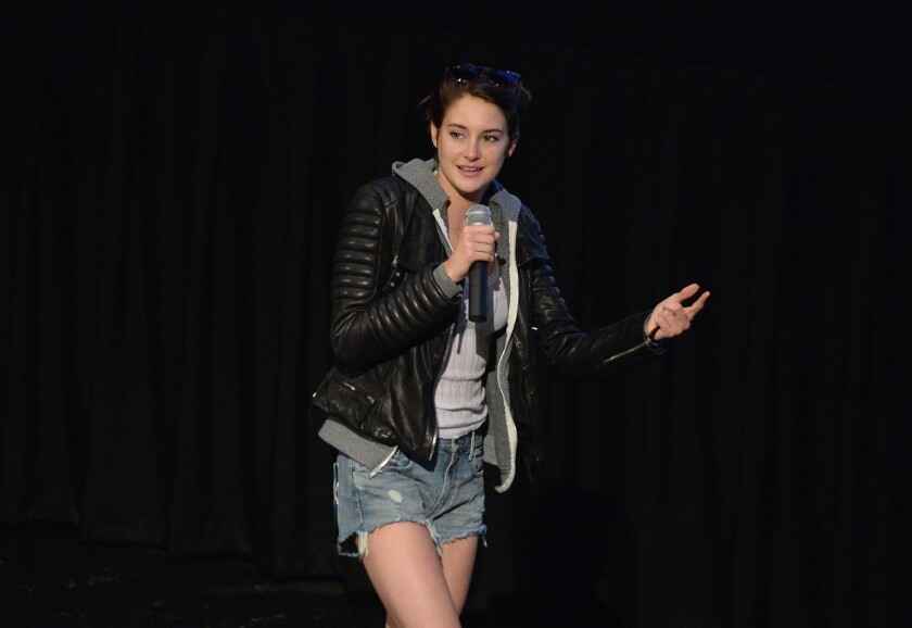 """Actress Shailene Woodley speaks at a screening of """"Divergent"""" in Thousand Oaks."""