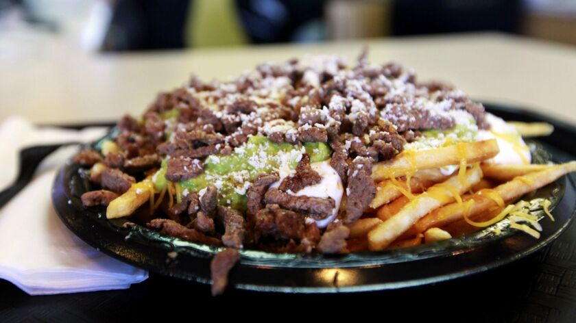 A plate of carne asada fries at Lolita's Mexican Restaurant, near the Park Boulevard gate at Petco Park.