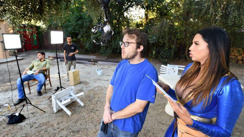 LOS ANGELES, CALIFORNIA NOVEMEBER 11, 2017-Director/producer Justin Kane tests a virtual reality cam