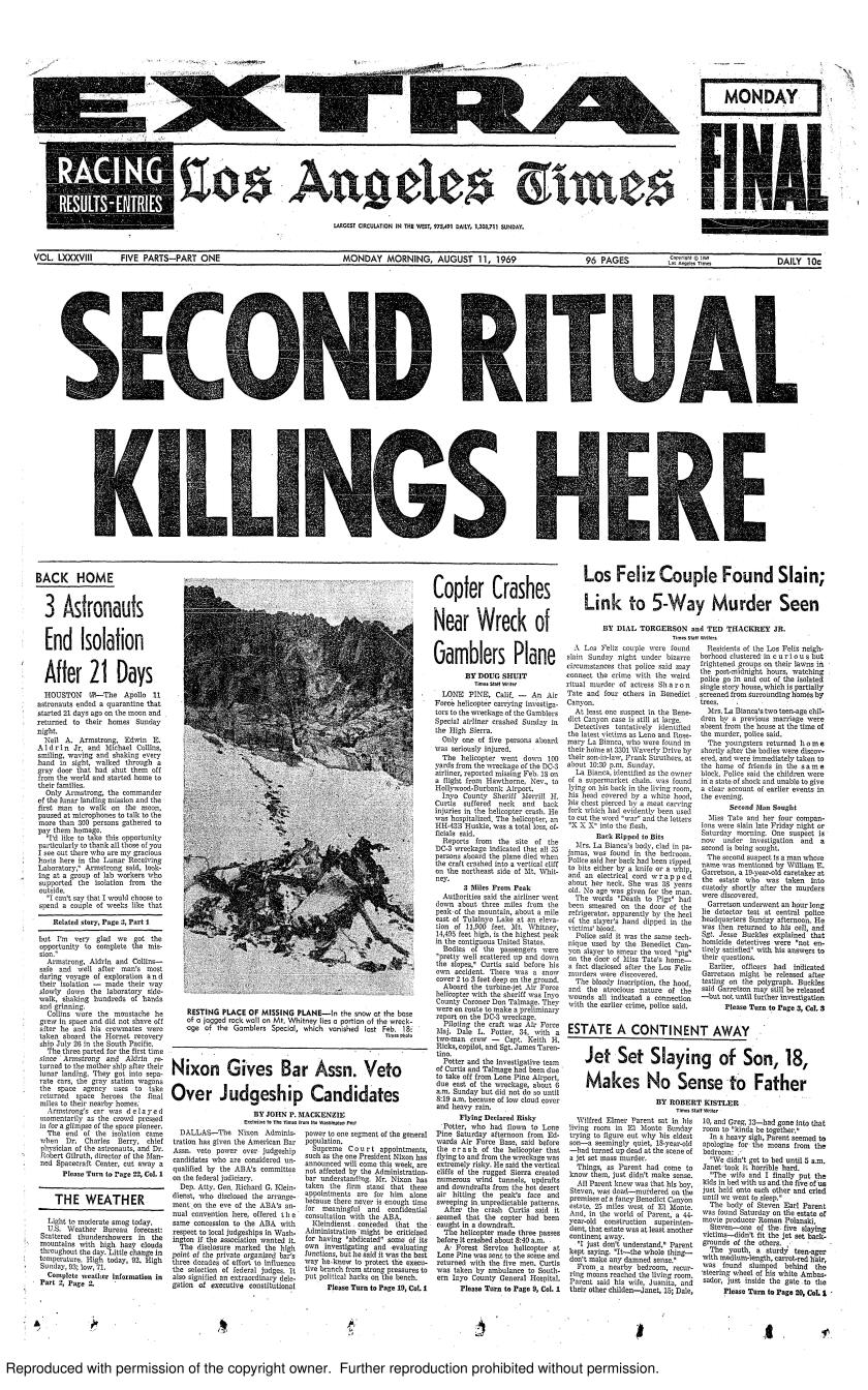 The front page of the Los Angeles Times on Aug. 11, 1969