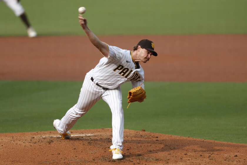 Padres right-hander Garrett Richards pitches to the San Francisco Giants on Sunday.