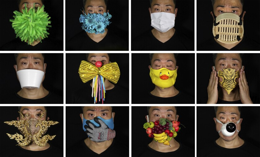 This combination of photos shows Edmond Kok, a Hong Kong theater costume designer and actor, wearing a variety of face masks he made to protect against the coronavirus in Hong Kong Thursday, Aug. 6, 2020. With little theater work because of the coronavirus pandemic, Kok has found a way to turn the now ubiquitous face mask into a creative opportunity. Since February, he has created more than 170 face masks inspired both by the pandemic and Hong Kong's political problems - not for actual use but as pieces of art. (AP Photo/Vincent Yu)