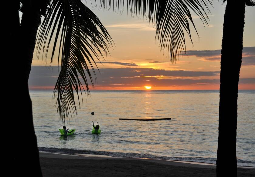 West Bay beach at sunset.