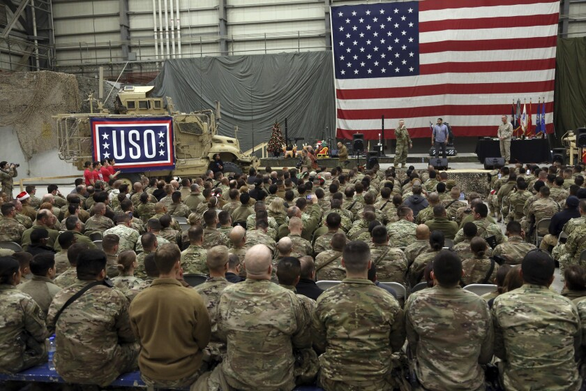 U.S. troops at Bagram air base in Afghanistan in 2019.