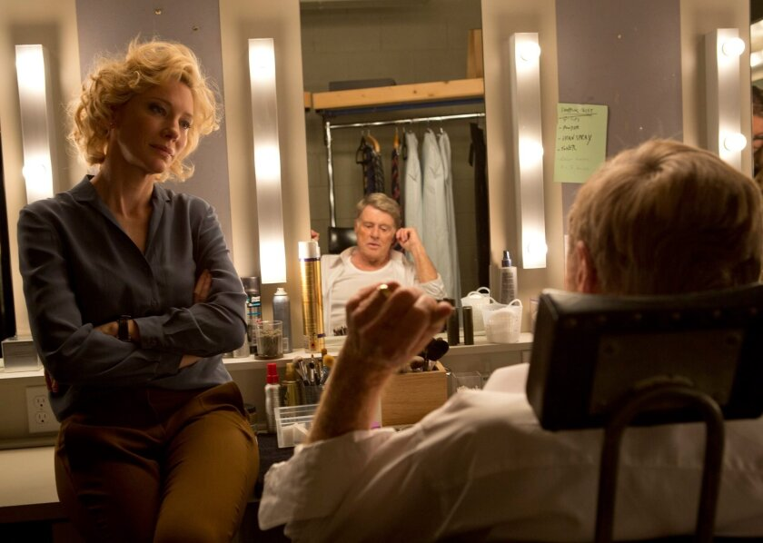 """Cate Blanchett portrays Mary Mapes, left, and Robert Redford portrays Dan Rather in a scene from, """"Truth."""""""