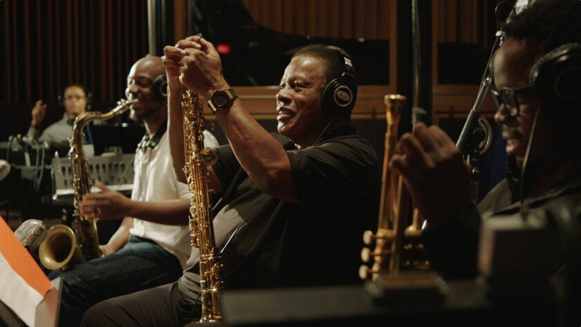 "(L-R)- Herbie Hancock, Marcus Strickland, Wayne Shorter, and Ambrose Akinmusire in a scene from ""BLU"