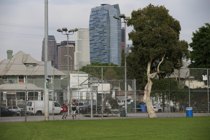 Health guidelines approved by the Los Angeles City Council on Tuesday include the goal of adding park space. Above, Toberman Park in L.A.'s Pico-Union neighborhood.