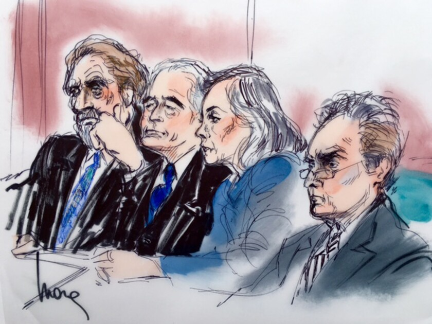 A courtroom sketch of, from left, Led Zeppelin singer Robert Plant and guitarist Jimmy Page with attorneys Helene Freeman and Peter Anderson.
