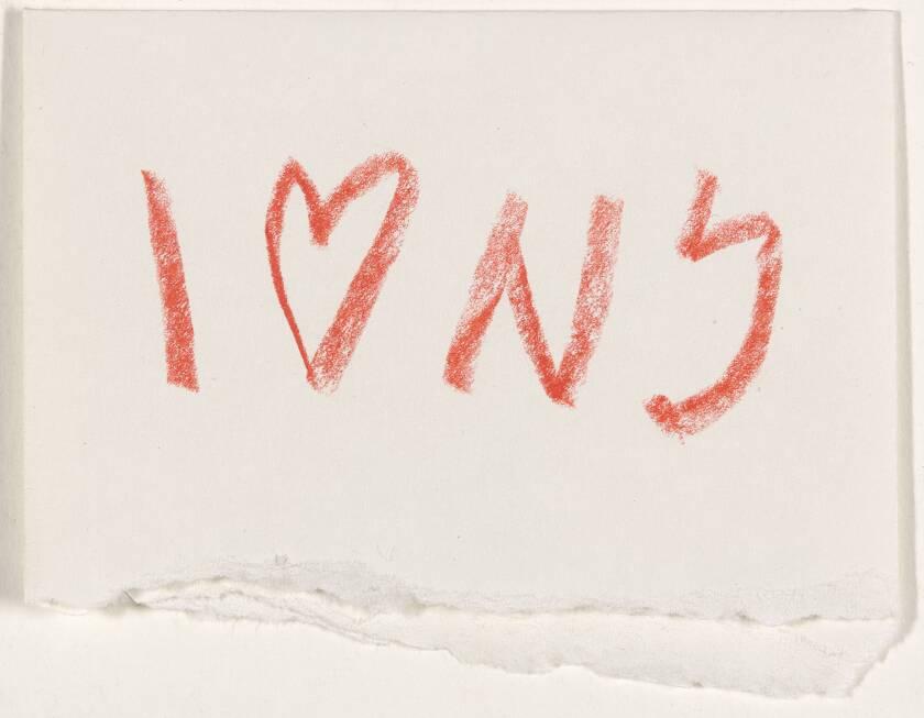 """Milton Glaser's original concept sketch for the """"I [Heart] New York"""" logo on a torn envelope."""