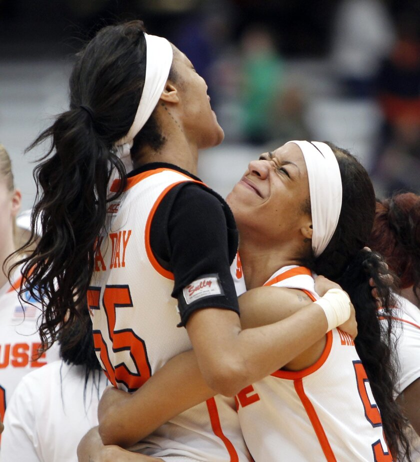 Syracuse's Briana Day, right, hugs teammate Bria Day, left, as they celebrate at the end of a second-round women's college basketball game in the NCAA Tournament against Albany in Syracuse, N.Y., Sunday, March 20, 2016. Syracuse won 76-59. (AP Photo/Nick Lisi)
