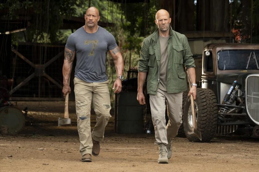 Jason Statham and Dwayne Johnson in 'Hobbs & Shaw'