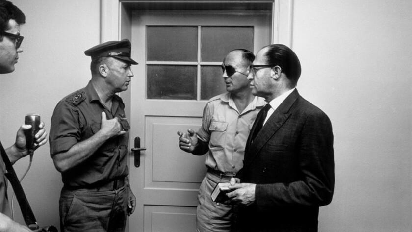 From left: Israeli Army Chief of Staff Yitzhak Rabin, Gen. Moshe Dayan, and Menachem Begin, during a 1967 Israeli cabinet meeting in Jerusalem.