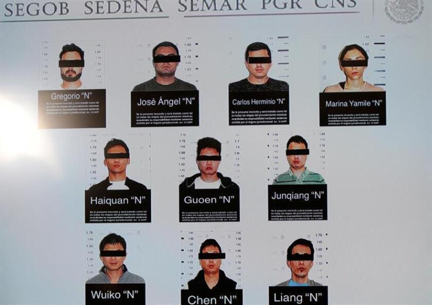 Reproducción fotográfica que muestra las imágenes de los integrantes de una banda delictiva internacional. Las autoridades mexicanas detuvieron a diez integrantes de una red internacional de operadores financieros que presuntamente están vinculados a grupos delictivos que operan en el país, informó la Procuraduría General de la República (PGR, fiscalía) hoy, jueves 7 de junio de 2018. EFE/Cortesía Secretaria de Gobierno/SOLO USO EDITORIAL/NO VENTAS