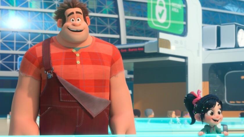 "Wreck-It Ralph (voiced by John C. Reilly) and Vanellope Von Schweetz (Sarah Silverman) in a scene from ""Ralph Breaks the Internet"""