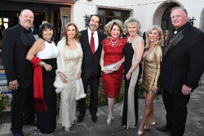 Sonny and Ludvina Nevarez (SDFF founding patrons), Vicky Carlson (SDFF board chair), Dr. Howard and Barbara Milstein (honorary chairs), Tonya Mantooth (SDFF CEO), Gina and John Daley (hosts/homeowners)