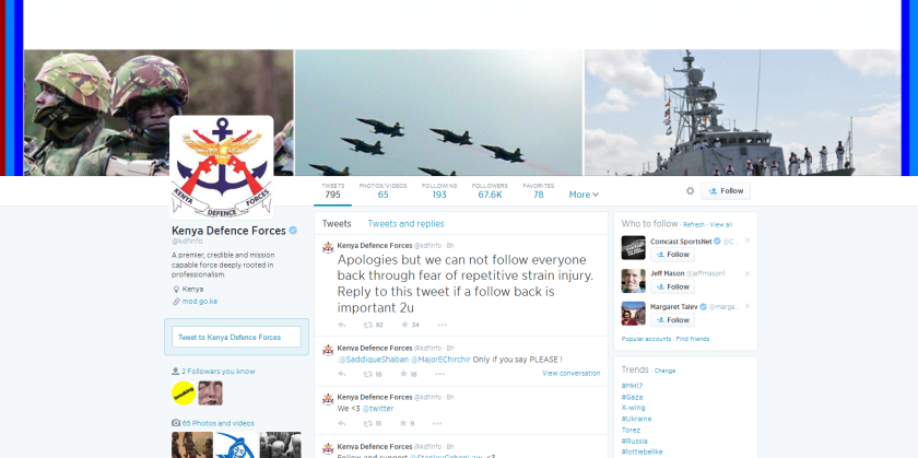 Kenya Defense Ministry Twitter account hacked