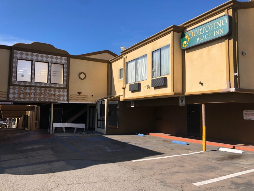 The site of the abandoned Portofino Beach Inn, which will be transformed into a 35-unit boutique hotel, is the subject of a lawsuit filed by an Encinitas property owner.