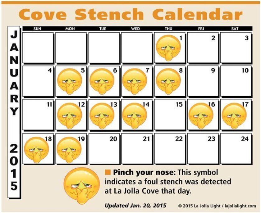 "La Jolla Cove ""Stench"" Calendar: Weekly updates about the permeating foul odor caused by sea lions and marine life. Updated Jan. 20, 2015."