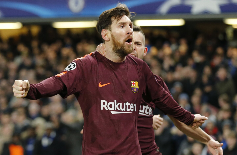 El jugador del Barcelona, Lionel Messi, festeja un gol contra Chelsea en la Liga de Campeones el martes, 20 de febrero de 2018, en Londres. (AP Foto/Alastair Grant) ** Usable by HOY, ELSENT and SD Only **