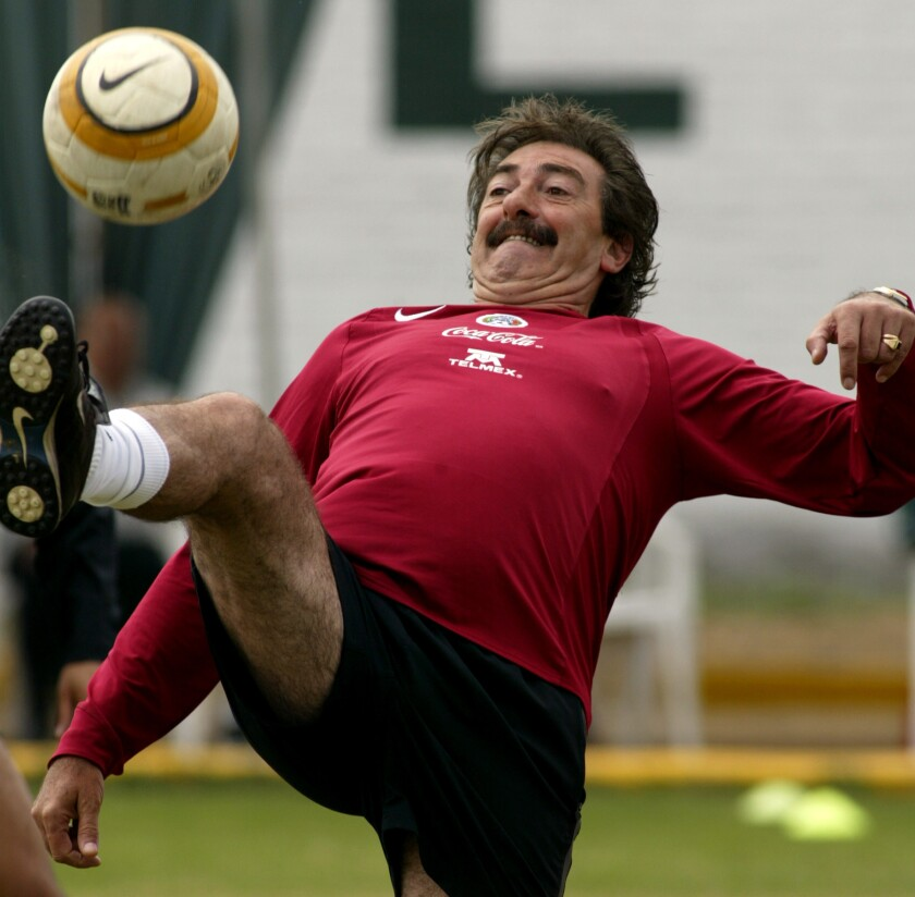 Mexico's coach Ricardo Lavolpe plays with the ball, Wednesday, July 14, 2004during a training session in Chiclayo, Peru. Mexico will play on Sunday its quarterfinal game of the Copa America.