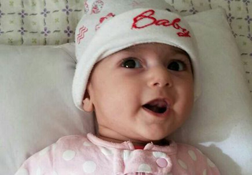 Fatemeh Reshad, an infant from Iran with a life-threatening heart condition, who will be treated at OHSU Doernbecher Children's Hospital in Portland, Ore.