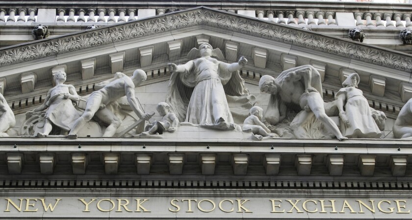 The New York Stock Exchange building in lower Manhattan.