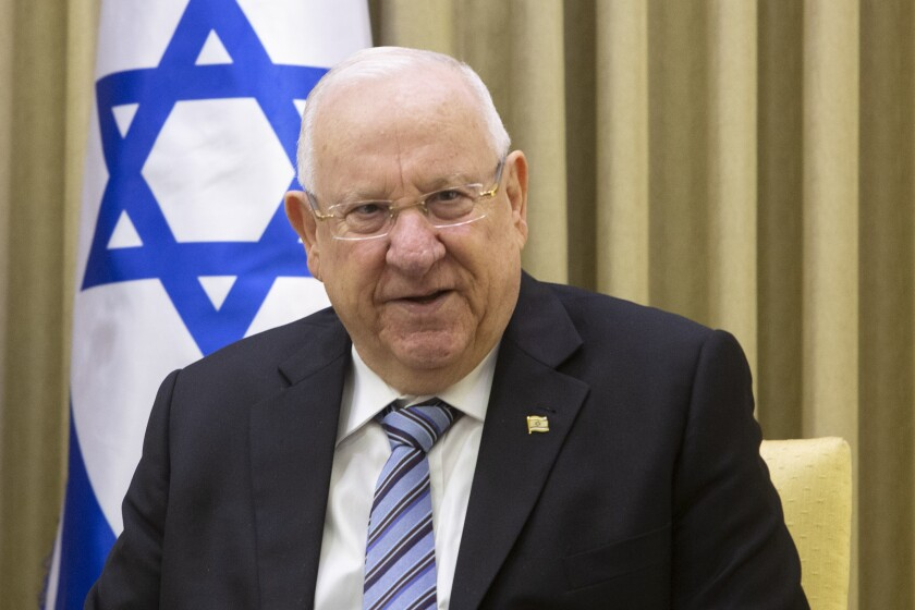 FILE - In this Jan. 21, 2019 file photo, Israeli President Reuven Rivlin speaks during his meeting with Ukrainian President Petro Poroshenko at the President's residence in Jerusalem. On Sunday, Sept. 22, 2019, Rivlin is starting his two-day consultations with representatives of all elected parties to hear their recommendations for prime minister before he selects his candidate, kicking off the complicated process of forming a new government after a deadlocked repeat election. (AP Photo/Sebastian Scheiner, File)