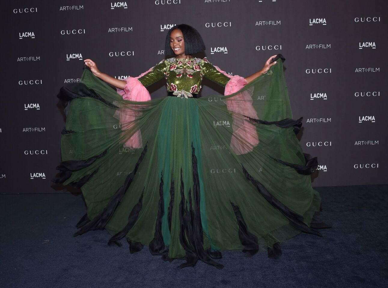 Actress Kiki Layne shows off her gown at the 2018 LACMA Art+Film Gala in Los Angeles.