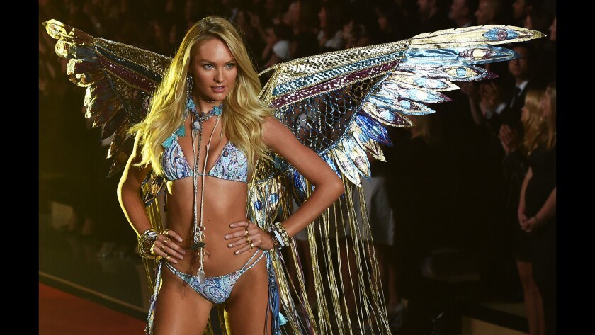 A model dons a sparkly angel creation during the 2015 Victoria's Secret Fashion Show in New York.