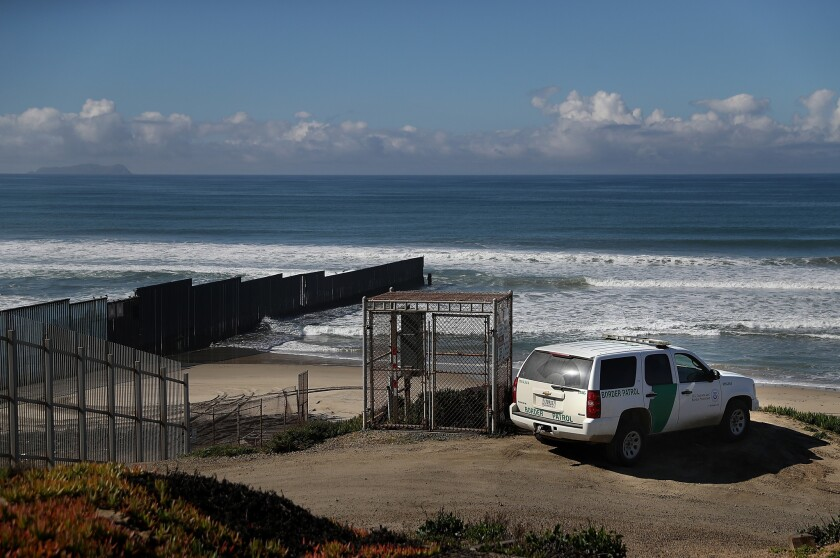 U.S. Border Patrol vehicle monitors the U.S.-Mexico border fence near Friends of Friendship Park on February 4, 2017 in San Ysidro, California. Friends and families gather at Friends of Friendship Park for several hours on Saturdays and Sundays on the U.S. side of the border fence along Tijuana.