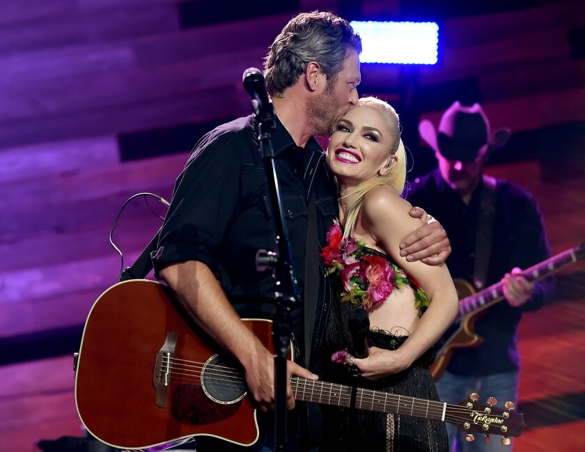 Blake Shelton and Gwen Stefani at release party for Shelton's new album.