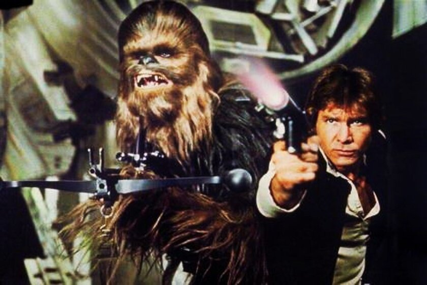 """Peter Mayhew as Chewbacca, left, and Harrison Ford as Han Solo in the original 1977 """"Star Wars: Episode IV -- A New Hope."""""""