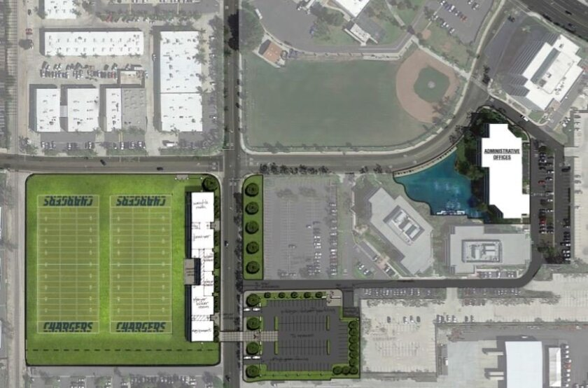 An illustration of the Chargers proposed training site at the intersection of Lake Center Drive and Susan Street in Santa Ana, Calif.
