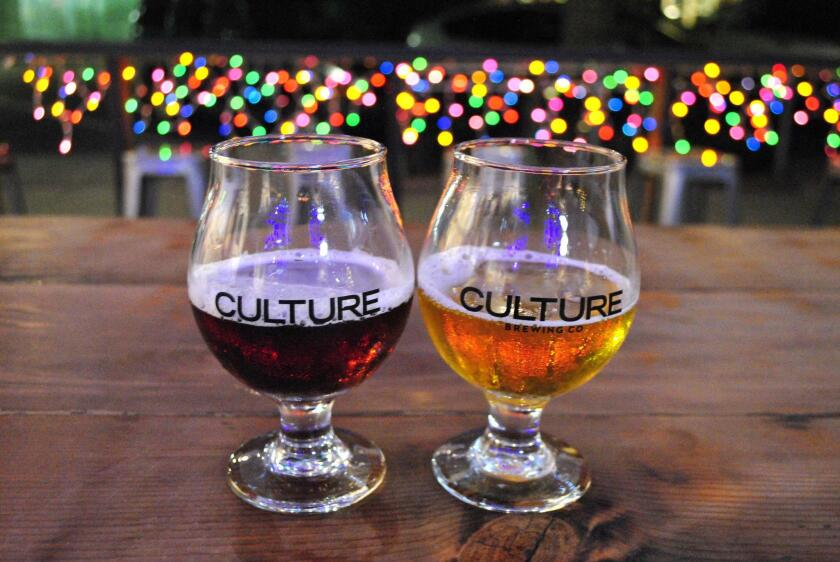 Culture Brewing: Ginger Snap Red Ale on the left and Pine IPA on the right.