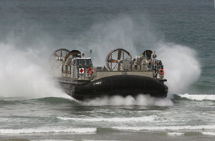 A Navy LCAC approaches the beach at the vehicle's base on Camp Pendleton.