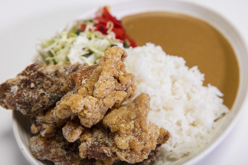 Junya's Crispy Karaage with curry and rice at RakiRaki Ramen in Kearny Mesa.